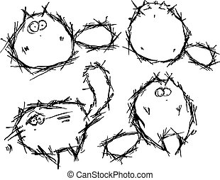Funny cats - Vector set of funny cats in hand-draw style