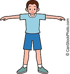 Sport man stretching - Vector illustration
