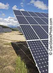solar energy field - group of photovoltaic panels and sky...