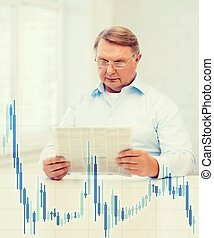 old man at home with newspaper and forex chart