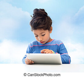 little girl with tablet pc over sky background - education,...
