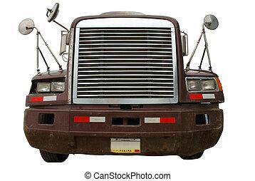 camión, frente, aislado, blanco