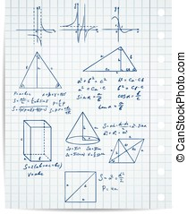 math and geometry on copybook page vector set