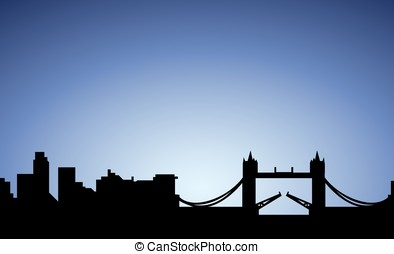 silhouette of London city, England, vector