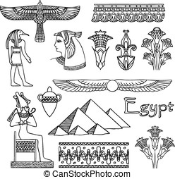 Egypt architecture and ornaments vector set