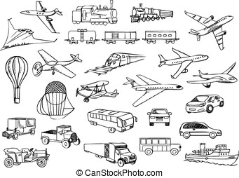 transportation over the world vector set
