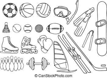 different sport items vector set