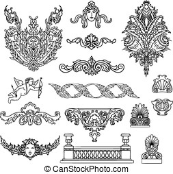 antique and baroque ornaments vector set