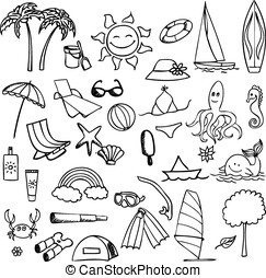vacation on sea vector set