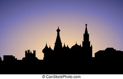 silhouette of Mosñow city, Russia, vector