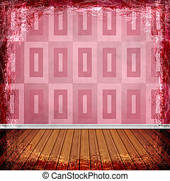 Red grunge background Abstract vintage texture with frame...