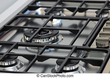 cooktop - The upper part of gas cooking range.