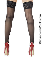 Woman Legs Wearing Red Shoes and Gray Stockings - Close up...