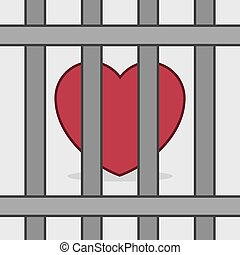 Heart Behind Bars - Red heart behind metal bars