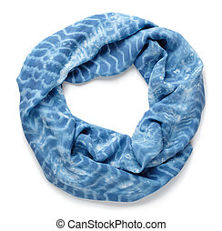 scarf  - silk blue scarf isolated on white background
