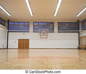 school gym - elementary school gym indoor with volleyball...