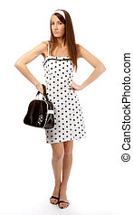 dissatisfied model - beautiful model in polka-dot dress with...