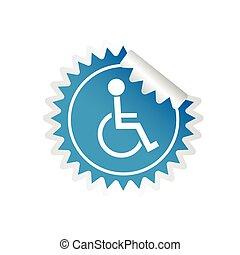 sticker paralyzed man icon vector - sticker paralyzed man...