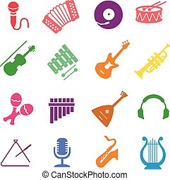 Musical instruments icon set - Musical instruments icon...