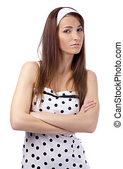 angry model - beautiful model in polka-dot dress with black...