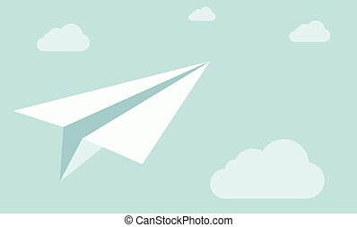 Paper plane on the sky with clouds.