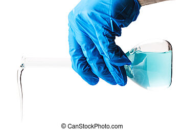 laboratorian reagent pouring on white isolated background
