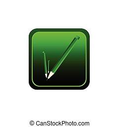 button pencil green vector