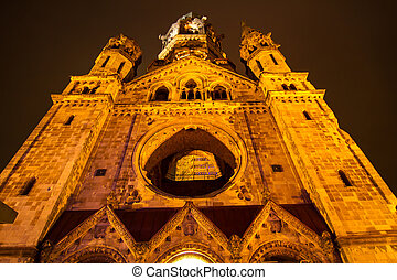Memorial Kaiser Wilhelm Church at night - Memorial Kaiser...