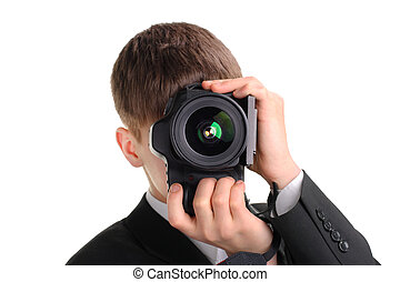 Teenager with Photo Camera Isolated on the White Background