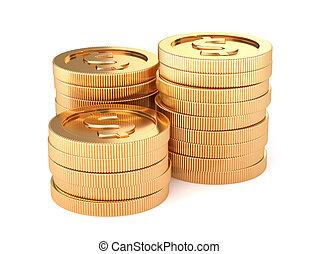 dourado, moedas, isolado, fundo, branca, pilhas