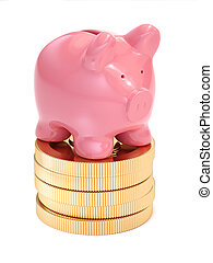 Small piggy bank on top of golden coins Money and business...