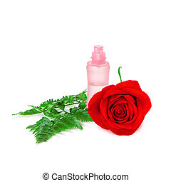 Perfume bottle with fresh red rose and fern leaves - Open...