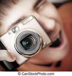Teenager with Photo Camera - Surprised Teenager with Photo...