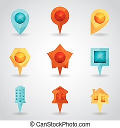 Landmark and Showplace Symbol Map Pointer Mark Polygon Icons...