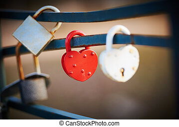 love locks - Red and White Love Lock as a symbol of...