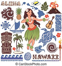 Vector Retro set of Hawaiian icons and symbols - Vector...