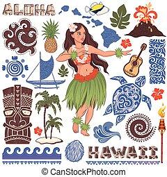 Vector Retro set of Hawaiian icons and symbols