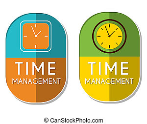 time management with clock signs, two elliptical labels -...