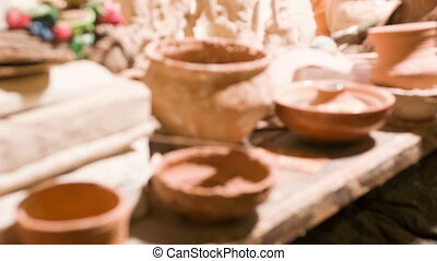 Interesting work of potter - Crockery Selective focus on...