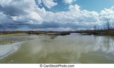 Wastewater foam - View from coast to contaminated wastewater