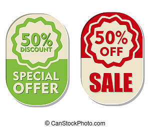 50 percent off discount, sale and special offer, two...