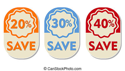 20, 30, 40 percent off save, three elliptical labels - 20,...