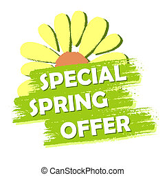 special spring sale with flower, green drawn label - special...