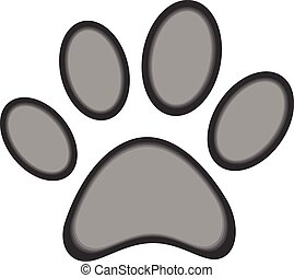 Cute dog or cat paw print, isolated on white vector eps 10