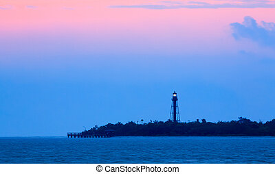 Sanibel Light Dawning - The Sanibel Island Lighthouse, also...