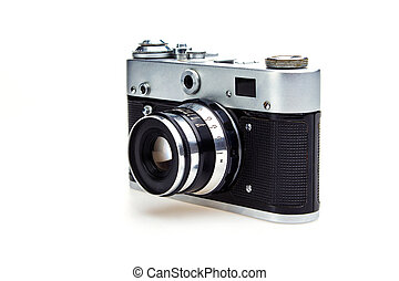 Old retro camera isolated on white