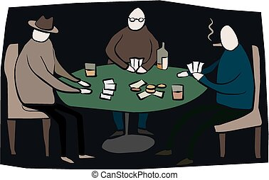 Poker game - Some poker players sit around a card table