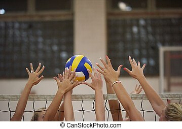 volleyball game sport with group of young beautiful girls...