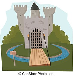 Castle and moat - A cartoon style castle with drawbridge and...