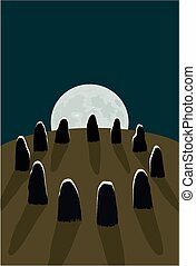 Stone circle - A group of standing stones under a full moon